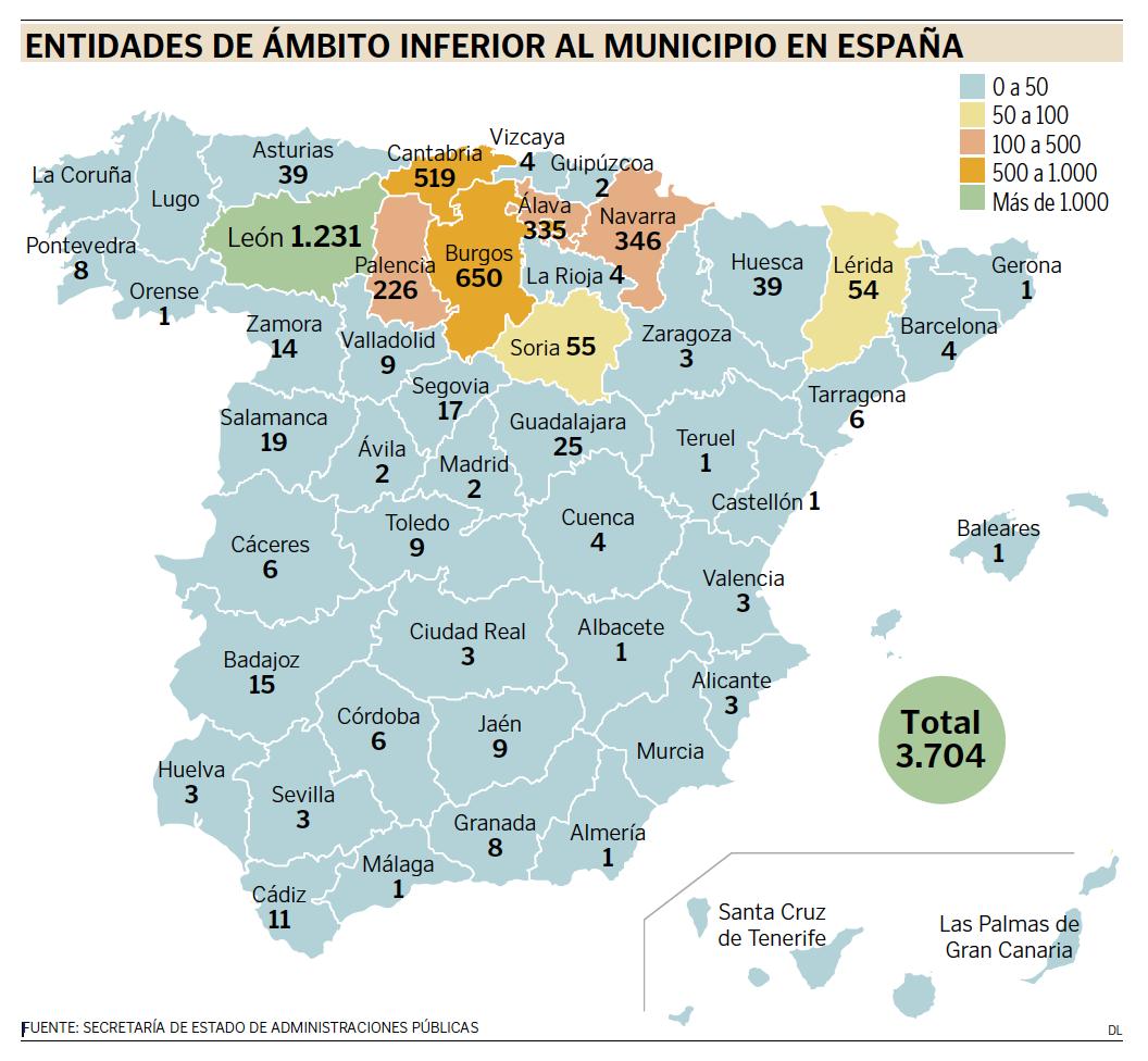 Mapa de las entidades locales menores en España